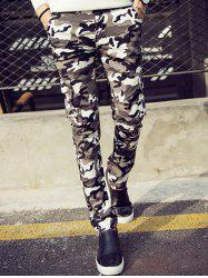 Camouflage Pattern Narrow Feet Cargo Pants