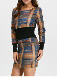 Plaid Long Sleeve Mini Bodycon Dress