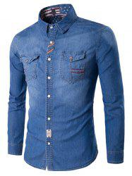 Suture Pockets Denim Long Sleeve Shirt