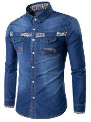 Totem Print Pockets Long Sleeve Denim Fitted Shirt -