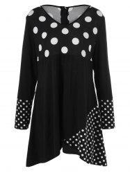 Plus Size Polka Dot Trim Asymmetrical Dress -