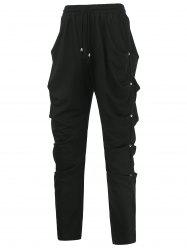 Rivet Embellished Drawstring Draped Harem Pants