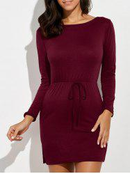 Long Sleeve Slit Mini Dress -