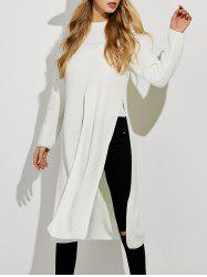 Ripped High Slit Pullover Sweater - WHITE