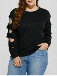 Cut Out Plus Size Crew Neck Sweater - BLACK