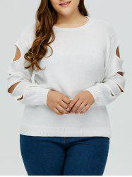 Cut Out Plus Size Crew Neck Sweater - WHITE