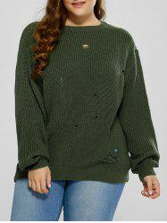 Plus Size Ripped Crew Neck Ribbed Sweater - BLACKISH GREEN