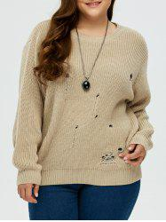 Plus Size Ripped Crew Neck Ribbed Sweater