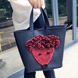 PU Leather Knit Panel Tote Bag -