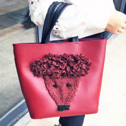 PU Leather Knit Panel Tote Bag