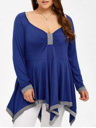 Plus Size Low Cut Asymmetrical T-Shirt