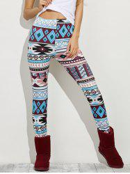High Waist Geometric Skinny Aztec Print Leggings - COLORMIX