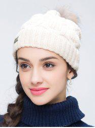 Faux Wool Crochet Pom Hat with Alloy Label