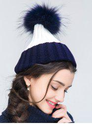 Contrast Trim Knit Ribbed Faux Wool Pom Hat -