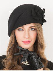 Flower Applique Embellished Wool French Beret