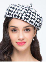 Houndstooth Pattern Painter Beret French Hat