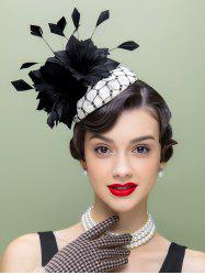 Flower Feather Hair Clip Pillbox Hat -