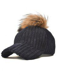 Pom Ball Embellished Corduroy Baseball Hat -