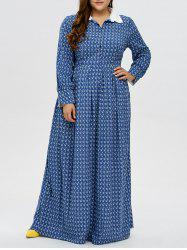 Plus Size Printed Maxi Dress - BLUE 3XL