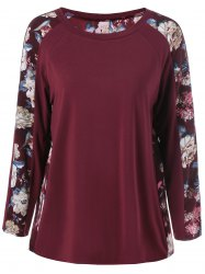 Plus Size Floral Trim Raglan Sleeve T-Shirt