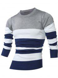Crew Neck Color Block Stripes Sweater - LIGHT GRAY 5XL