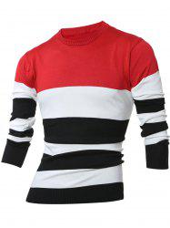 Crew Neck Color Block Stripes Sweater -