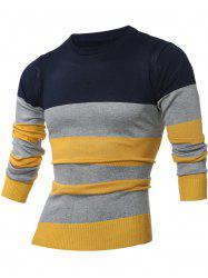 Crew Neck Color Block Stripes Sweater
