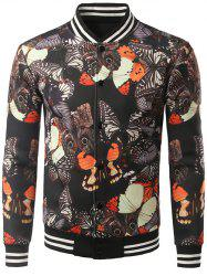 Stand Collar Button Up Butterfly Printed Jacket
