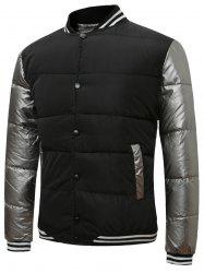 Button Up Color Block Rib Insert Quilted Jacket -