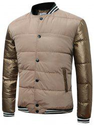 Button Up Color Block Rib Insert Quilted Jacket