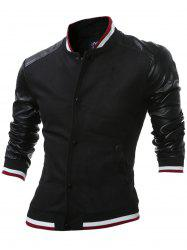 Stand Collar Button Up PU Leather Insert Jacket - BLACK 2XL