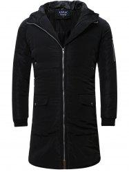 Zip Up Cuffed Hooded Padded Quilted Coat