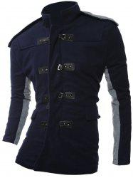 PU Leather Closure Color Block Hooded Coat - CADETBLUE