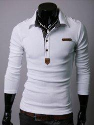 Turndown Collar Half Button Long Sleeve Tee - WHITE