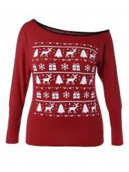 Plus Size Skew Neck Christmas Graphic T-Shirt - DEEP RED 5XL