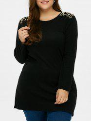 Plus Size Long Sleeves Beaded Tunic T-Shirt