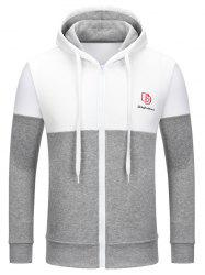 Full Zip Color Block Embroidery Logo Hoodie -