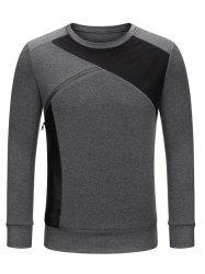 Crew Neck Color Block Zip Embellished Sweatshirt - DEEP GRAY 2XL