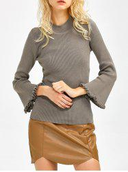 Bell Sleeve Ribbed Ruffled Sweater -