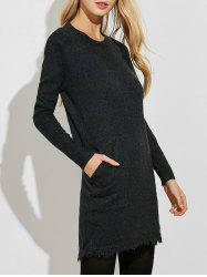 Fringed Sweater Dress with Pockets -