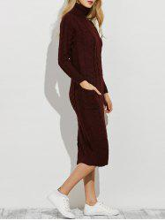 Slit Roll Neck Cable Knit Midi Jumper Dress -
