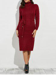 Roll Neck Side Slit Belted Long Sleeve Jumper Dress -
