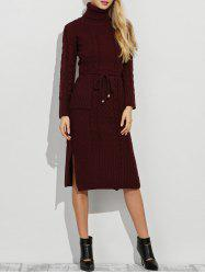 Roll Neck Side Slit Belted Long Sleeve Jumper Dress
