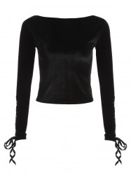 Velvet Boat Neck Lace Up Cropped Top - BLACK ONE SIZE