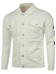 Buttoned Pocket Patched Embroidered Jacket -