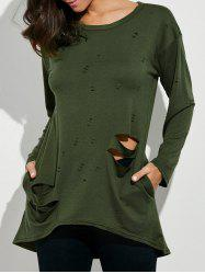 Oversized Long Sleeve Distressed T-Shirt