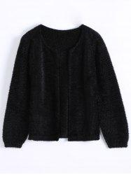 Short Fuzzy Knitted Cardigan