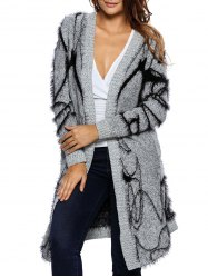 Long Collarless Fuzzy Cardigan