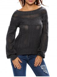 Semi Sheer Cable Knit Hollow Out Sweater -