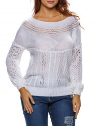 Semi Sheer Cable Knit Hollow Out Sweater
